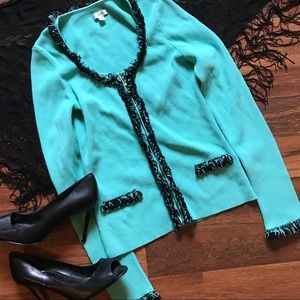 Cache' zip up Cardigan size small teal blue
